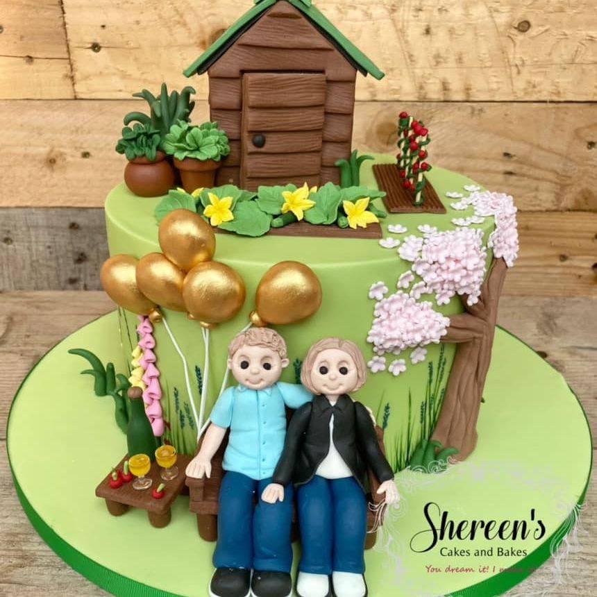 Golden wedding anniversary garden cherry tree vegetables shed cake