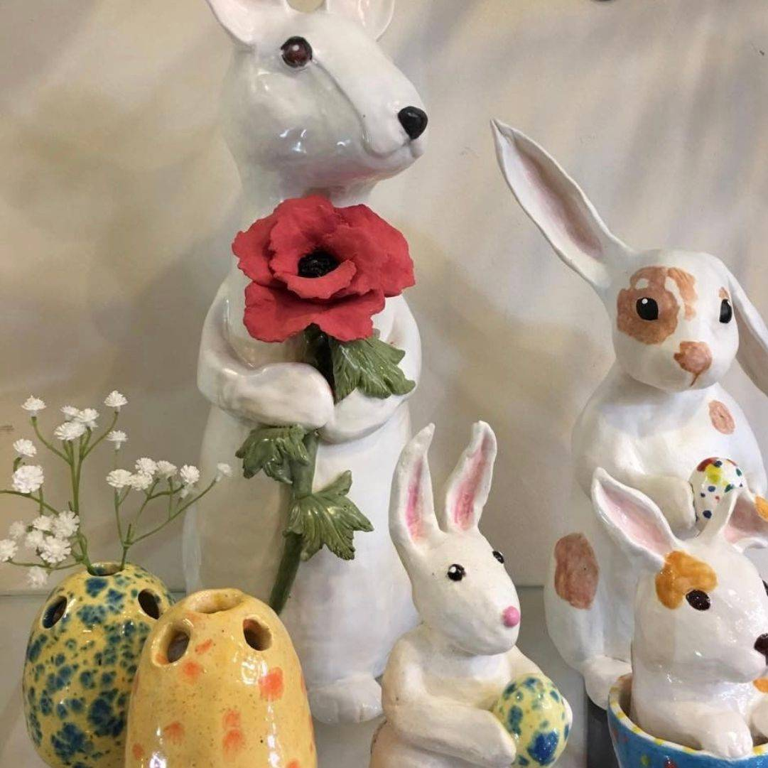 "CMiles - Bunnies and Easter bud vases, paperclay, tallest 18""x8""x6"""