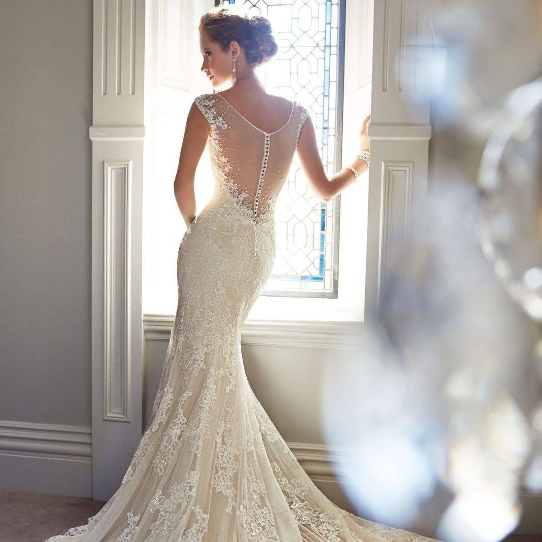 Sophia Tolli wedding dress, Sophia Tolli, fit and flare wedding dress, lace wedding dress, dipped back wedding dress, illusion back wedding dress, wedding dress with illusion back