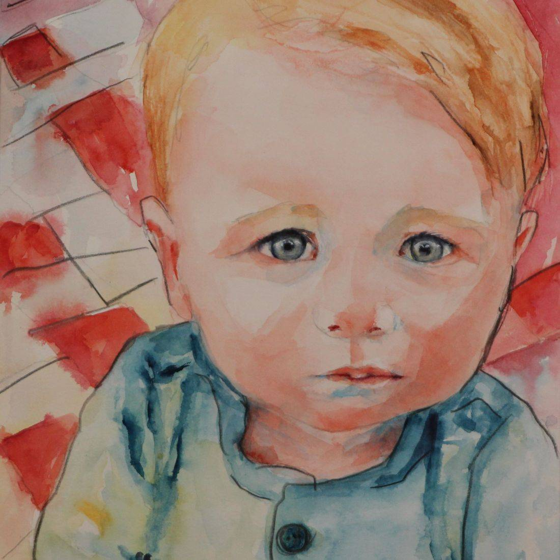 R Putbrese watercolor portrait of priest by Rebecca Krutsinger