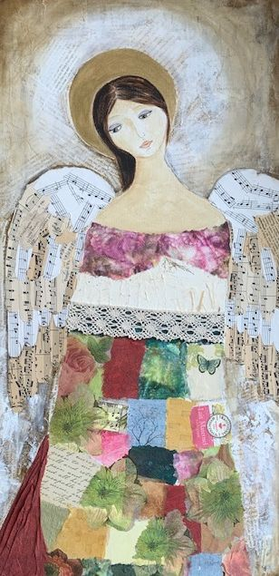 Angel, Mixed media collage, woman in art, figurative artwork, ethereal art, inspirational art, acrylic art, mixed media artist, Angels in artwork, Angel Collage