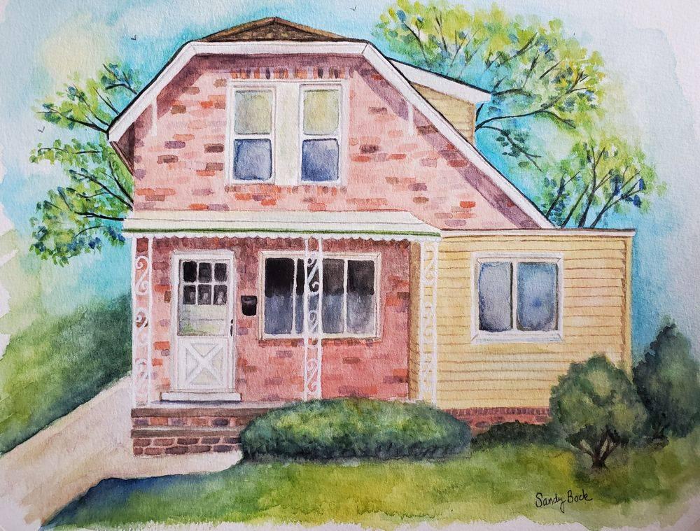 sandy bock, house portrait, portrait artist, portrait art, watercolor, portrait illustration
