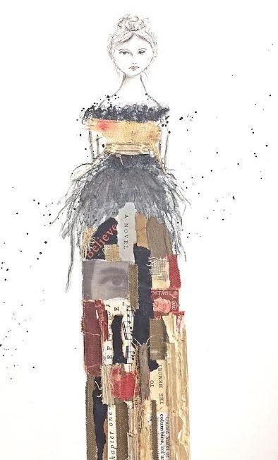 Collage artwork, woman in art, mixed media artist, paper art, collage artist, Columbine, vintage book art