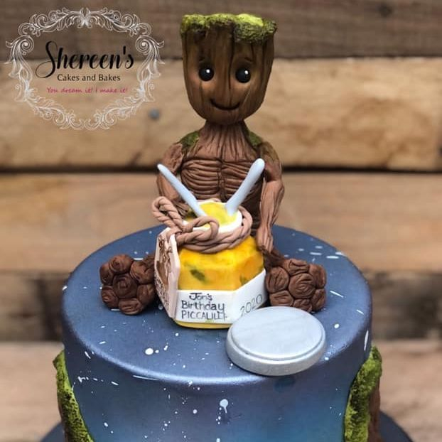 Birthday Cake baby groot eating picallili space galaxy blue