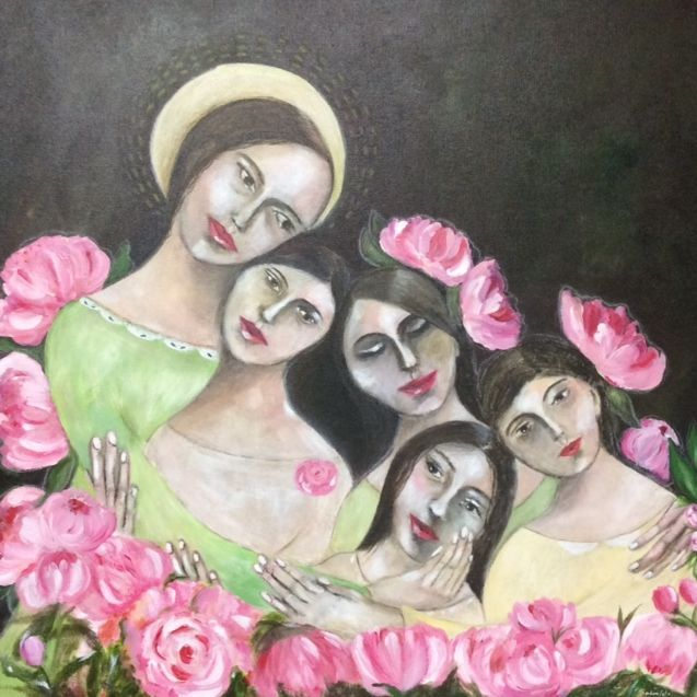 Acrylic  on Canvas, by Art And Soul By The Lake; Mother and Daughters; Peonies