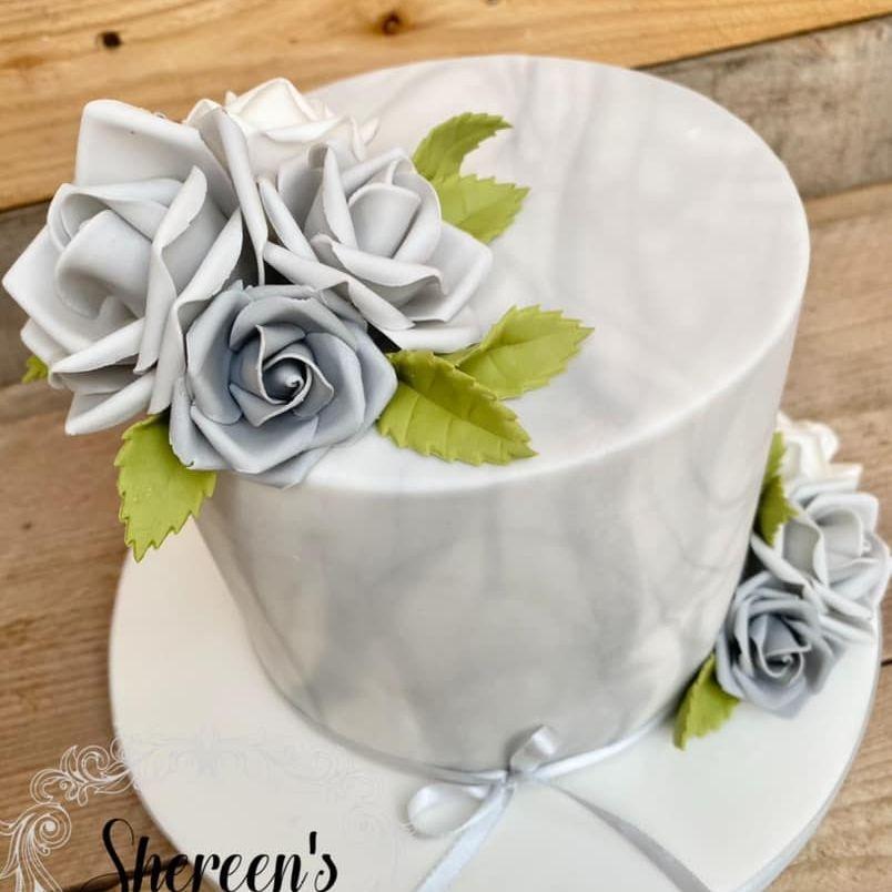 Grey Marble Rose Pretty Birthday Cake