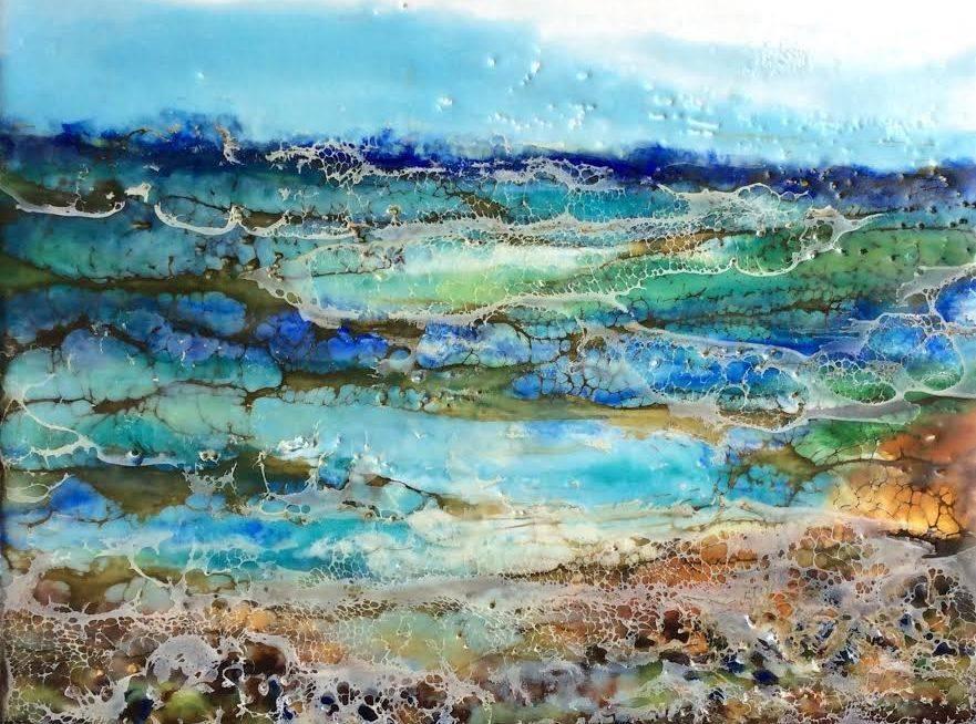 Landscape painting, encaustic landscape, ethereal landscape, ethereal seascape, encaustic artist, inspirational art, abstract landscape painting, beach painting, pebbles