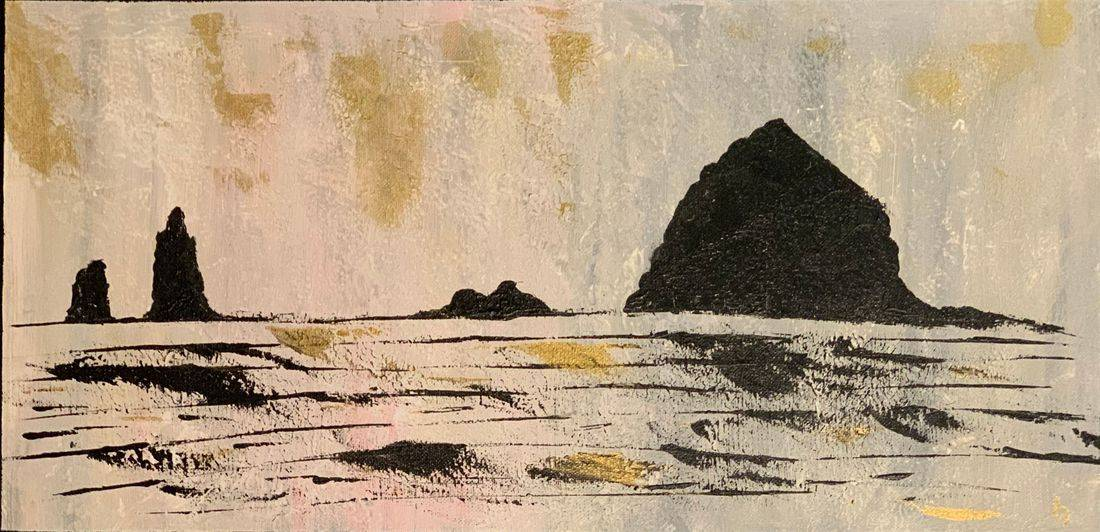 haystack rock cannon beach seascape original abstract acrylic canvas painting