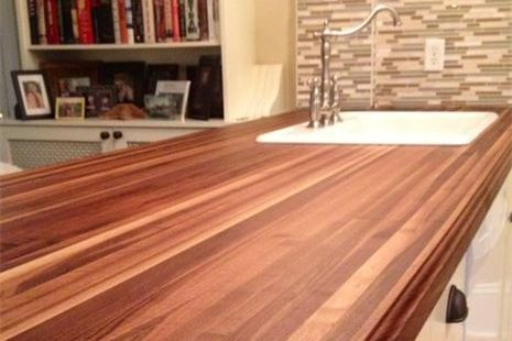 Walnut edge grain island top with bevelled edge and sink cut-out