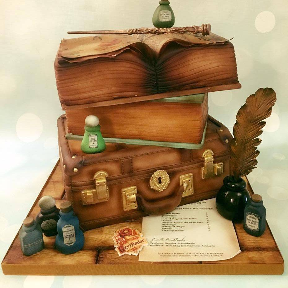 Harry Potter Hermione Cake Potions Trunk Quill Wand Cake Griffindor