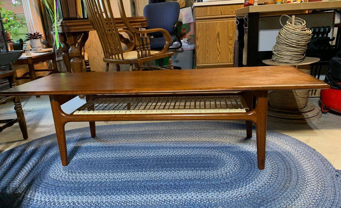 Trioh Mid Century Modern Coffee Table done by Hank's Cane & Rush Restoration
