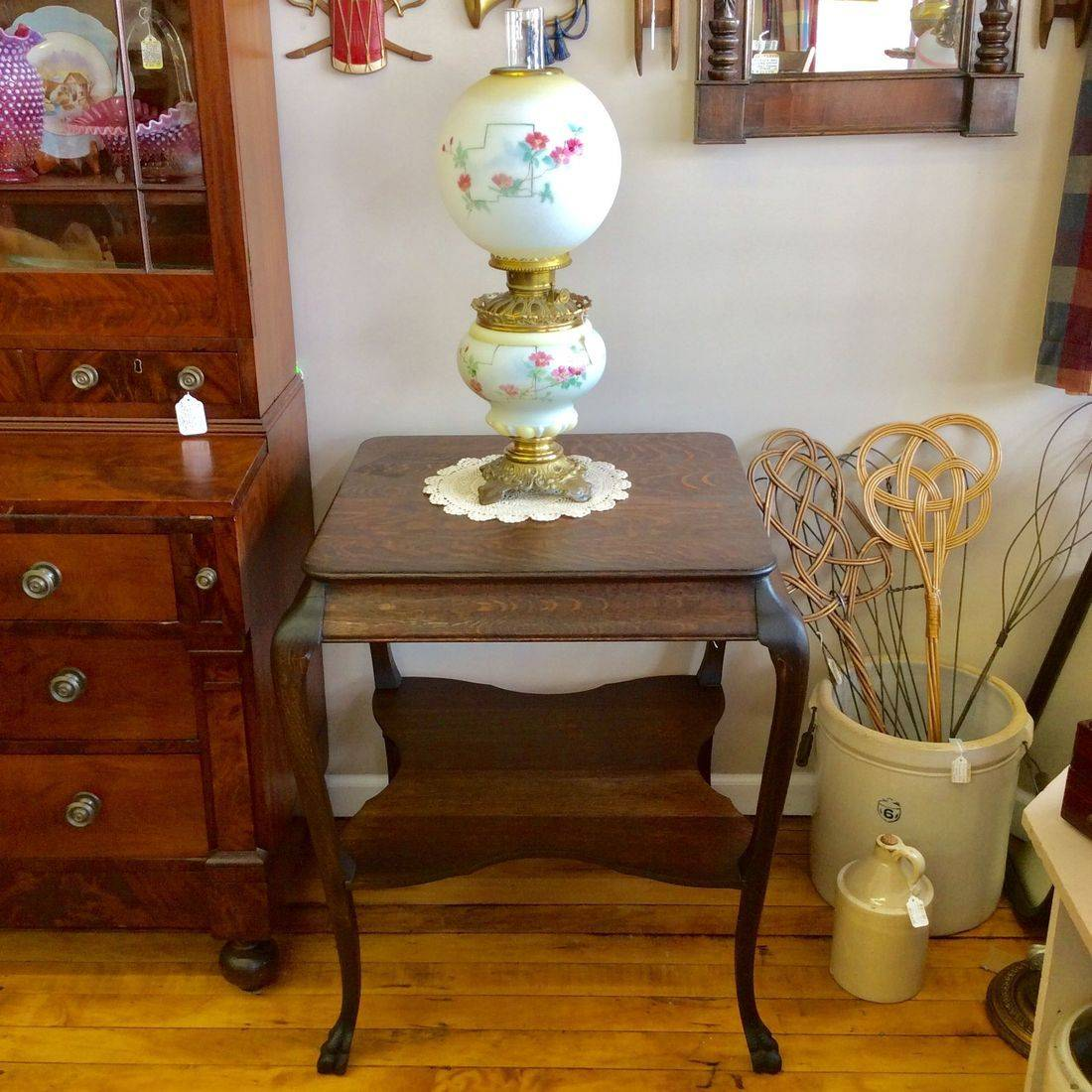 "Early 1900's Oak Parlor Table w/Shelf and Claw Feet  26-1/2""W x 26-1/2""D x 30-1/4""H.  $95.00"