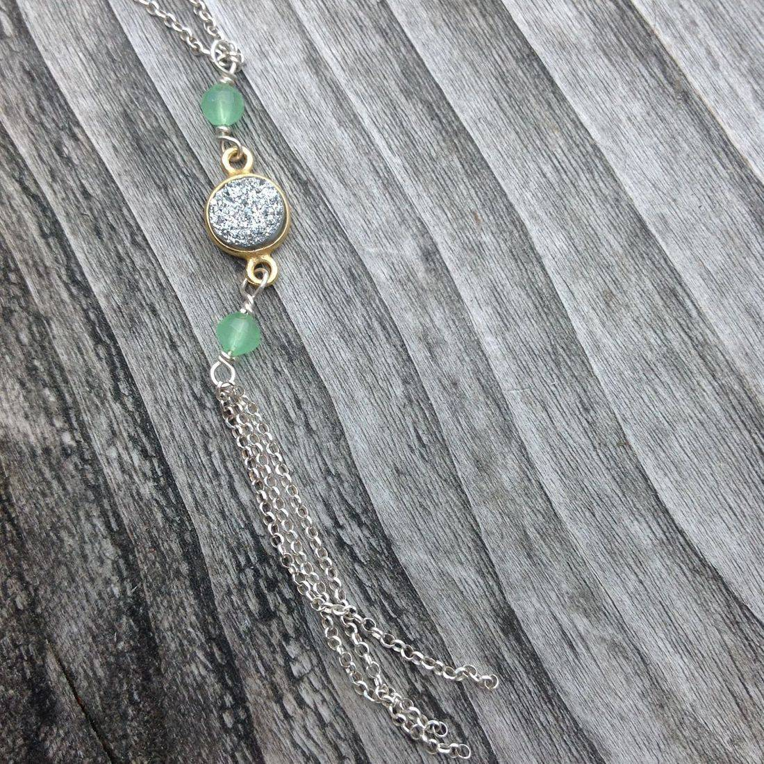 silver and gemstone Y necklace  on sterling silver chain, silver tassel