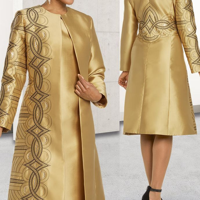 gold dress suit