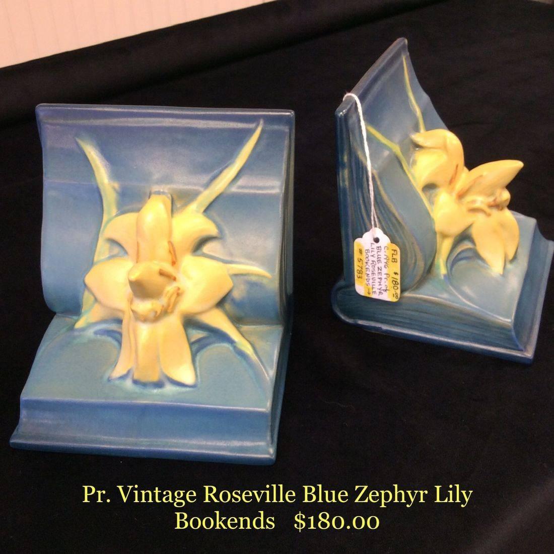 Pr. Vintage Roseville Blue Zephyr Lily Bookends  $ 180.00