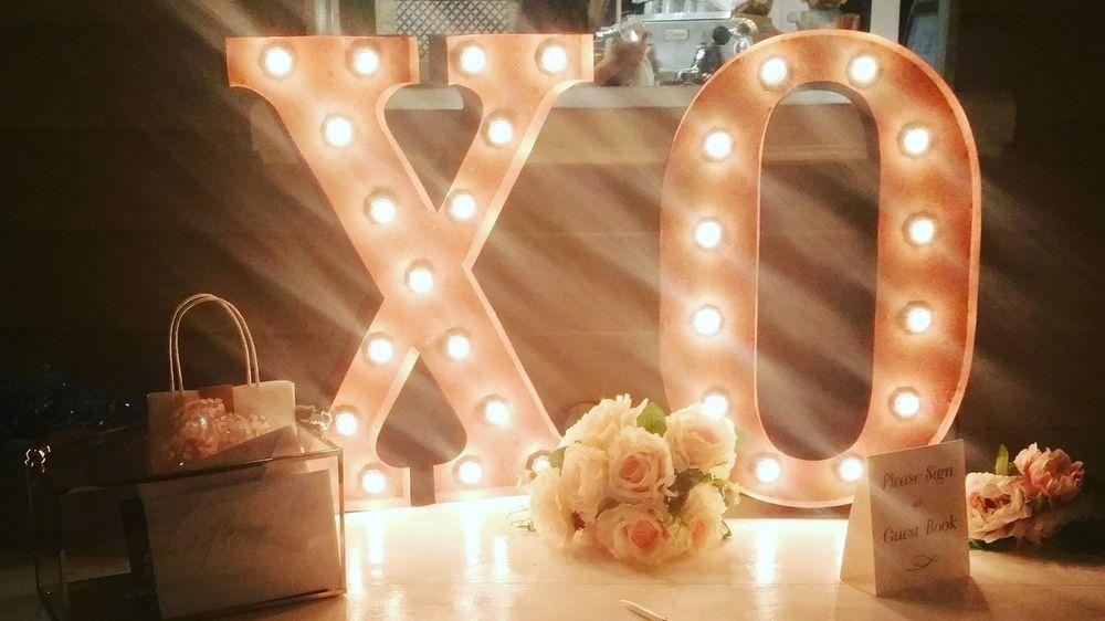 Illuminated  Signage - Rust XO -  70cm high 1 long