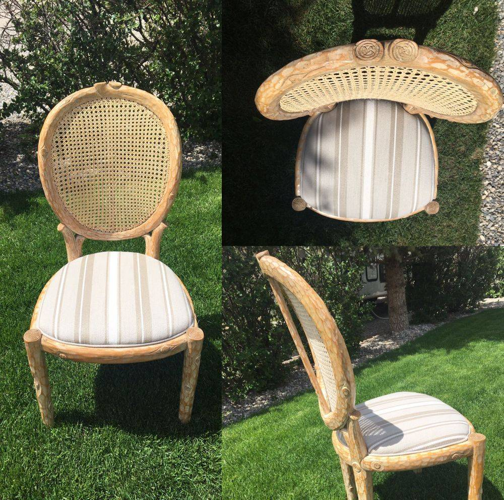 William Switzer 1960s Vintage Faux Bois Branch Form Blind Cane Back Seat Louis XVI Dining Chair.