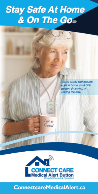 Happy women wearing her GPS Safe on the go device holding a coffee cup.