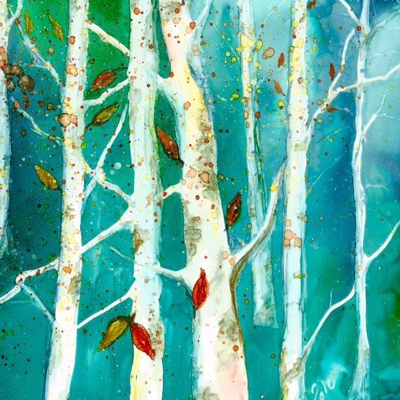Alcohol Ink Birch Tree Painting, by Barbara Polc