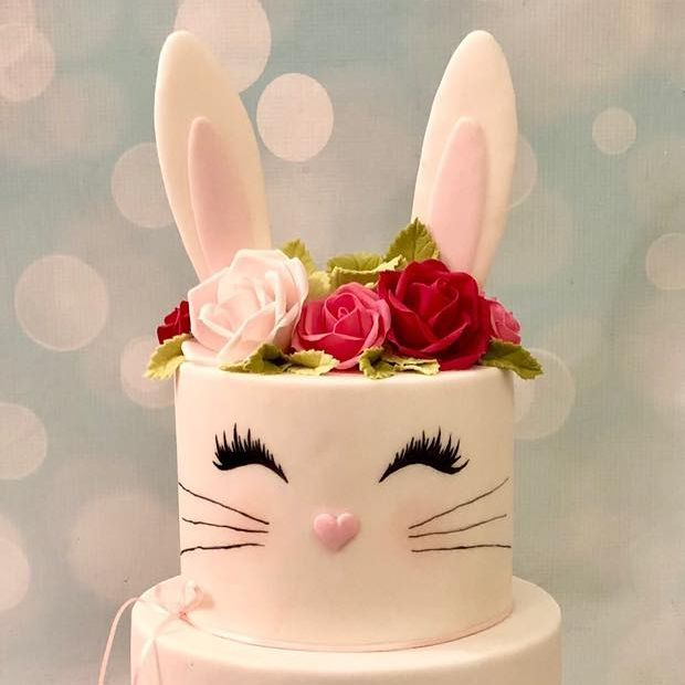 Bunny Birthday First 1st Cake Rabbit Roses Ears