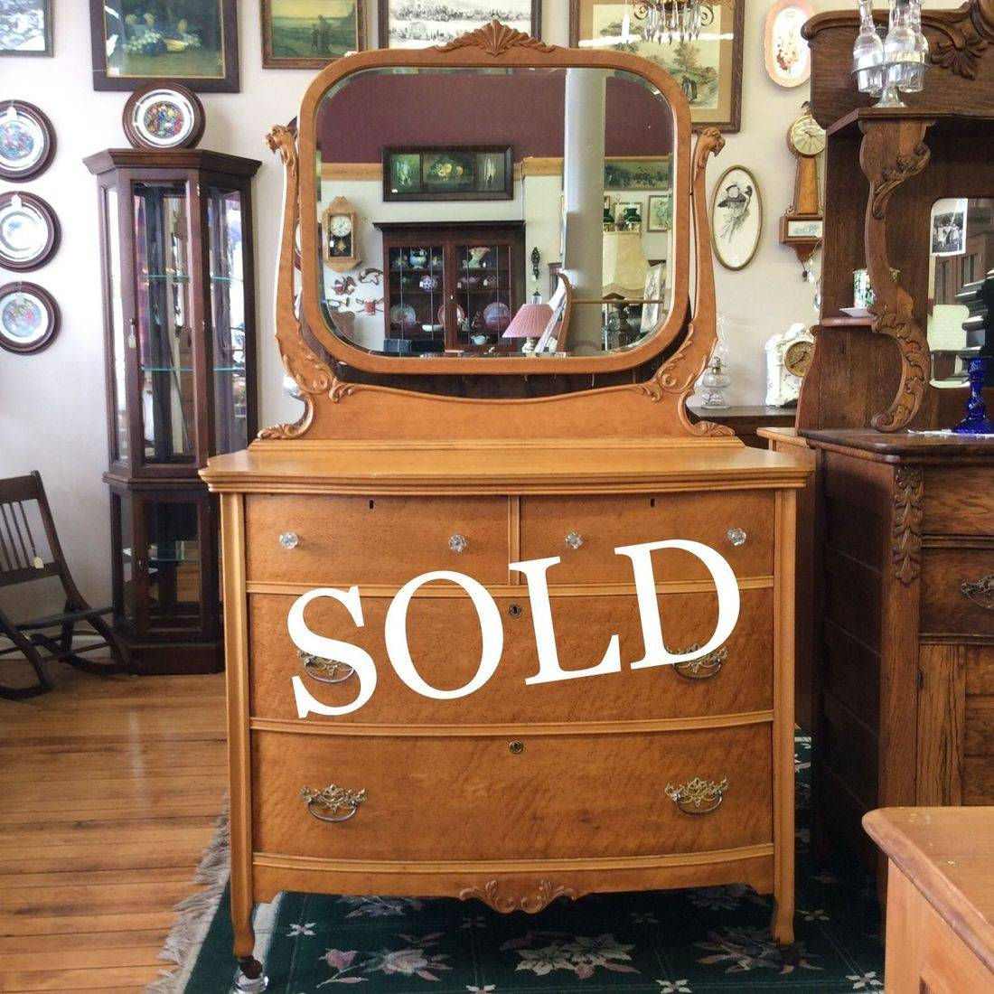 C. 1890-1910  Birds-Eye Maple 4-Drawer Dresser w/Beveled Edge Mirror and Griffin Head Mirror Supports   $300.00