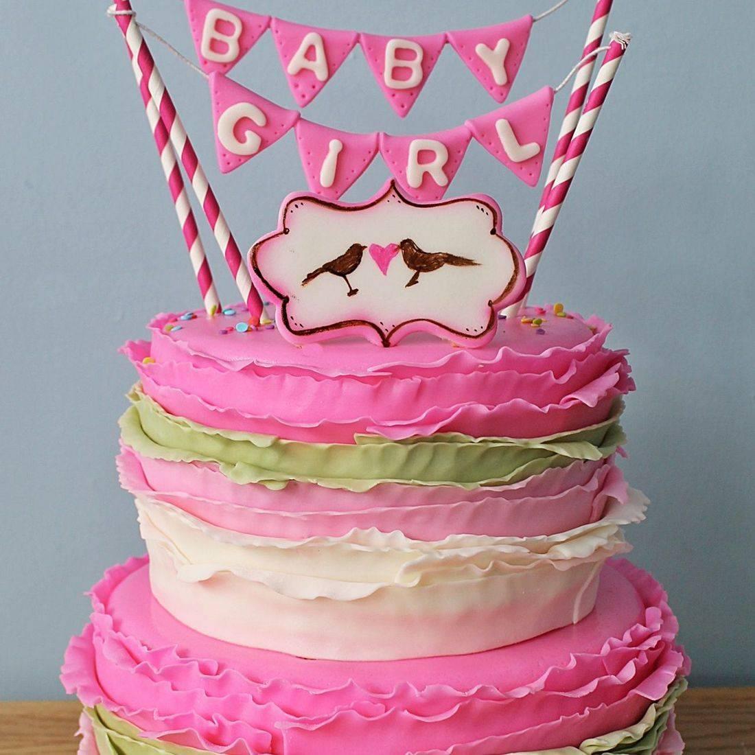 Custom Pink  Green Baby Bunting Cake  Milwaukee