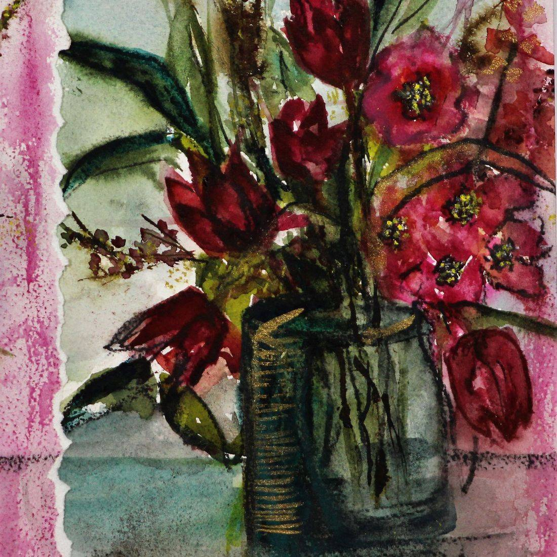 R Putbrese watercolor collage painting of tulips in a vase by Rebecca Krutsinger