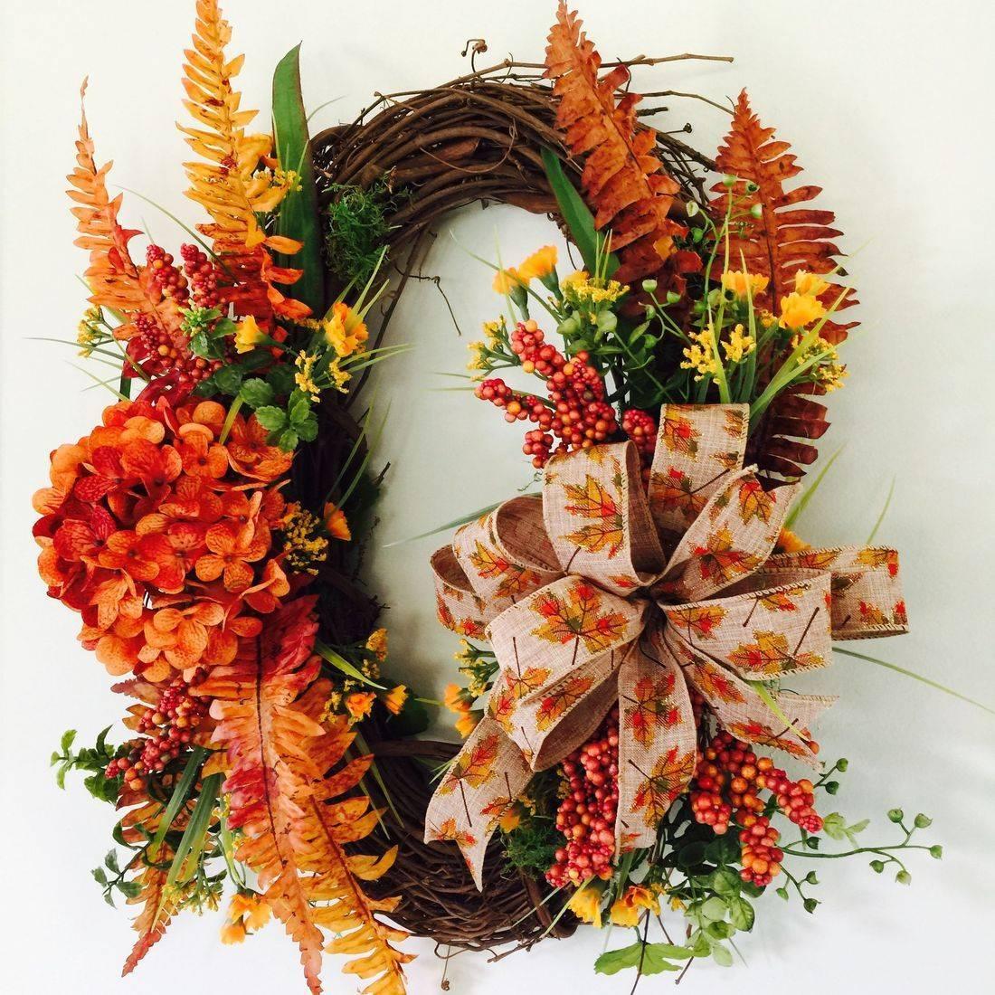 Silk floral autumn wreath