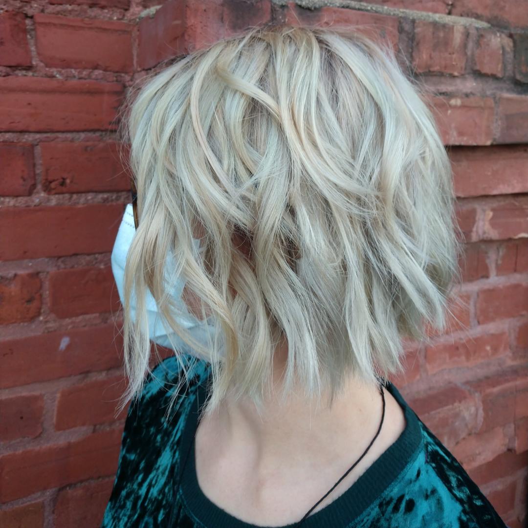 Corrective color specialist healthy blonde olaplex hair