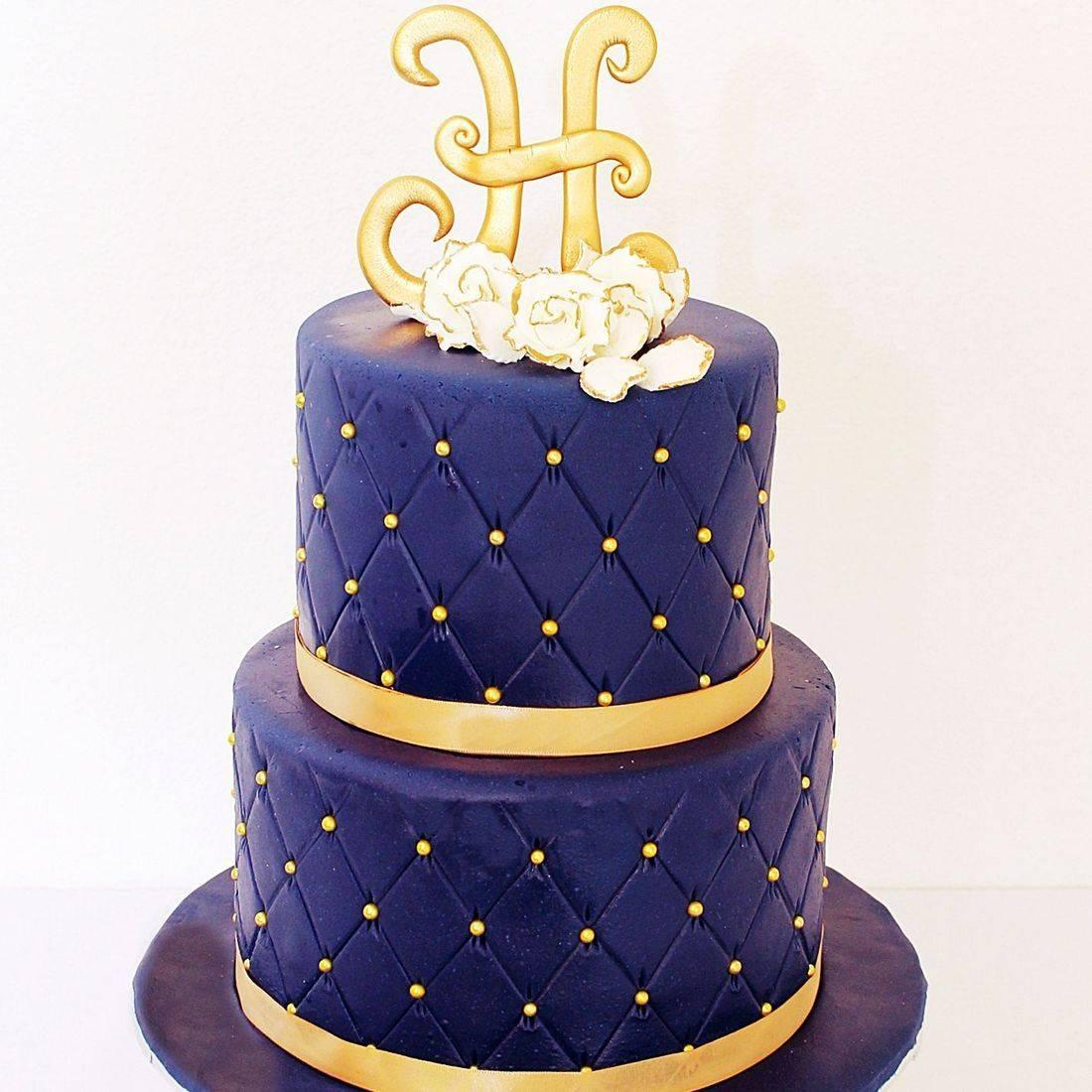 Custom Navy gold Wedding  Cake Milwaukee