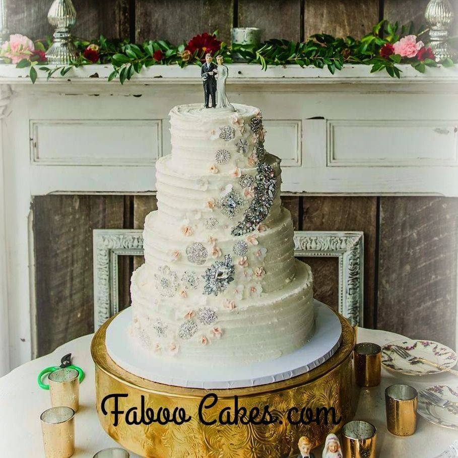 Rustic wedding cake jewels buttercream flowers  southern style