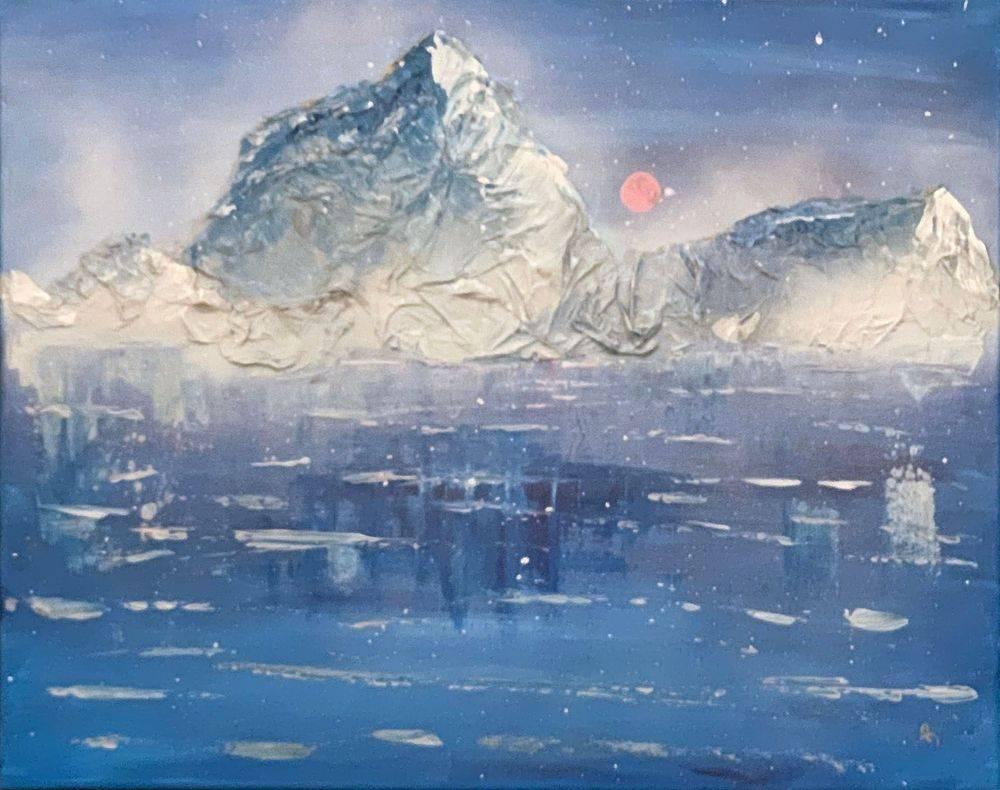 Snowfall, winter, Pacific Northwest, snow, super moon, Hope Angel Fine Art, Oregon Artist, Abstract Art, Abstract Artist, Local Artist