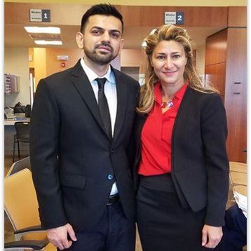 Emel Ersan with her client after winning their case