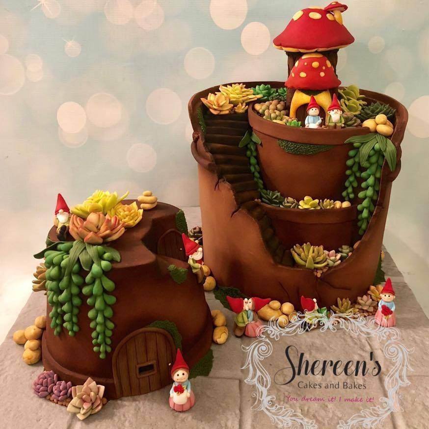 Flower Pot Cake Broken Gnomes Succulents Cacti Garden Birthday Cake Stones Plant