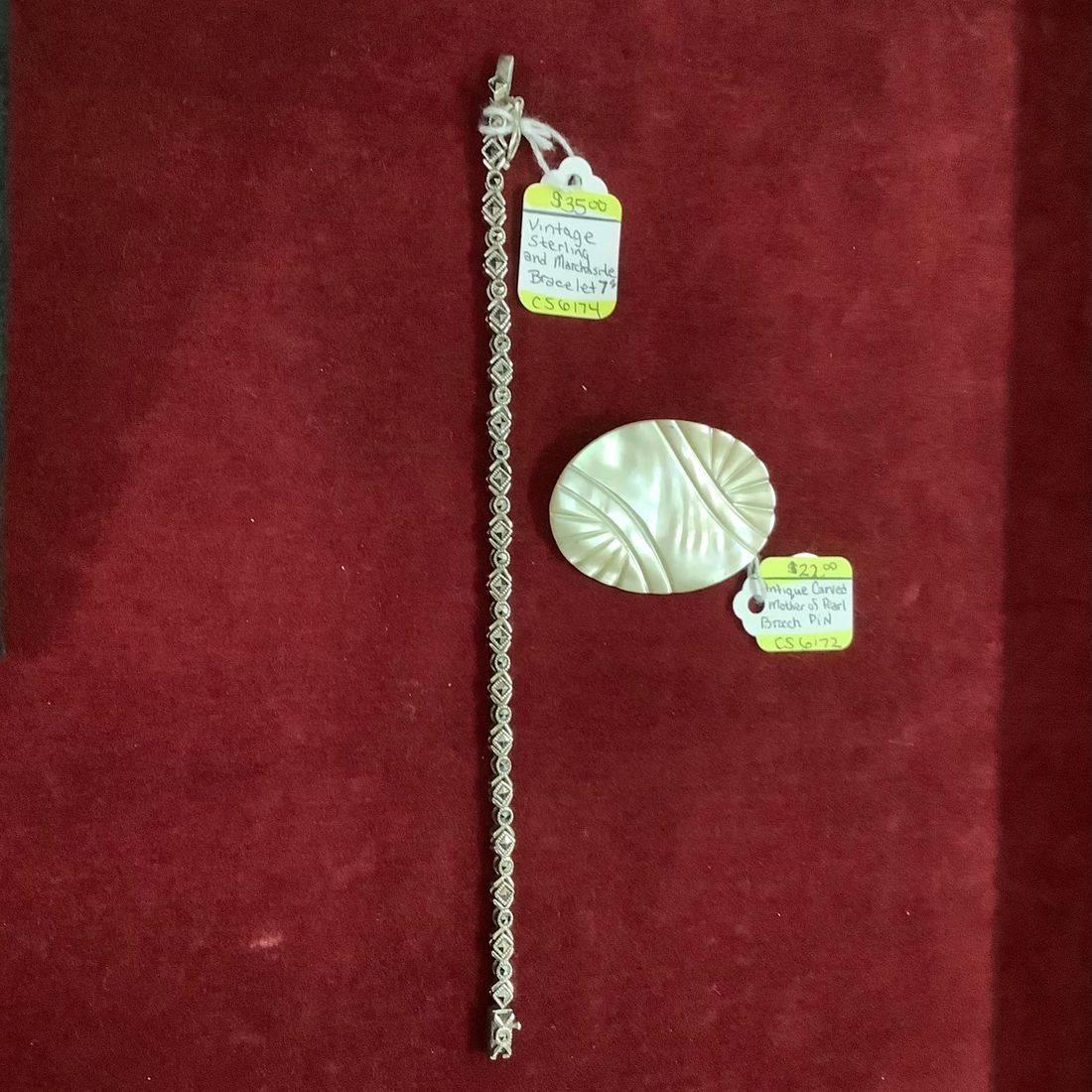 Vintage Sterling and Marcasite Bracelet  $35.00