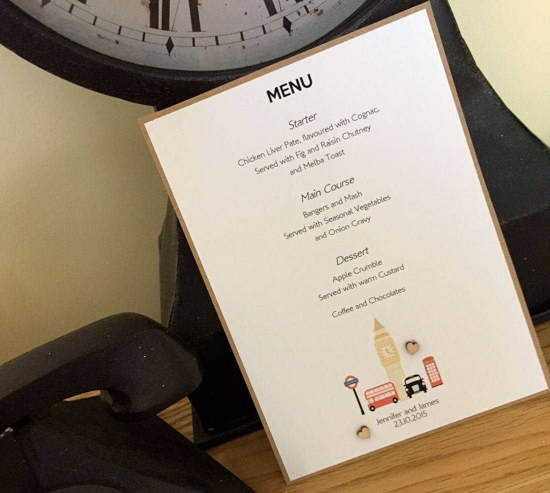 London Themed Menu