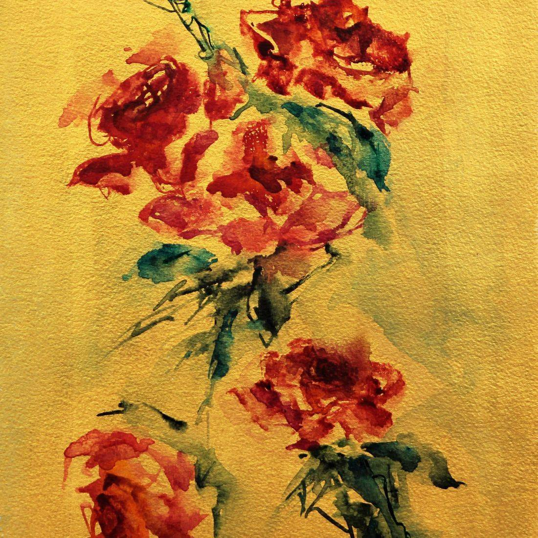 R Putbrese watercolor painting of red roses