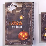 Primitive lighted Halloween print