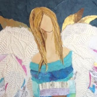 Guardian Angel.  Art And Soul By The Lake.  Barbara Polc Artist. Collage Art. Fiber Art. Collage. Paper Art.  Mixed Media. Collage on  Canvas. Angel. Angel Art. Inspirational Art. Angel Collage