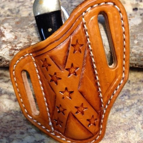 Confederate flag , trapper knives , tooled , leather