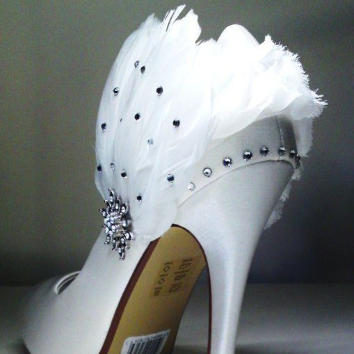 white customised wedding shoes with feathers and crystal nicky rox