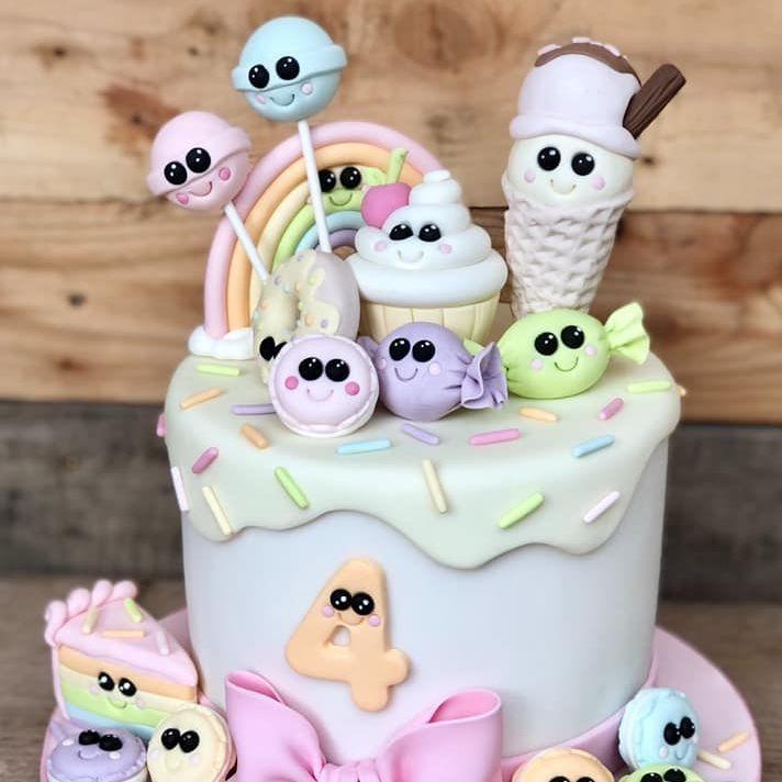 birthday cake kawaii ice cream lolly pop lollipop macaron sweet bow candy treat slice pastel rainbow