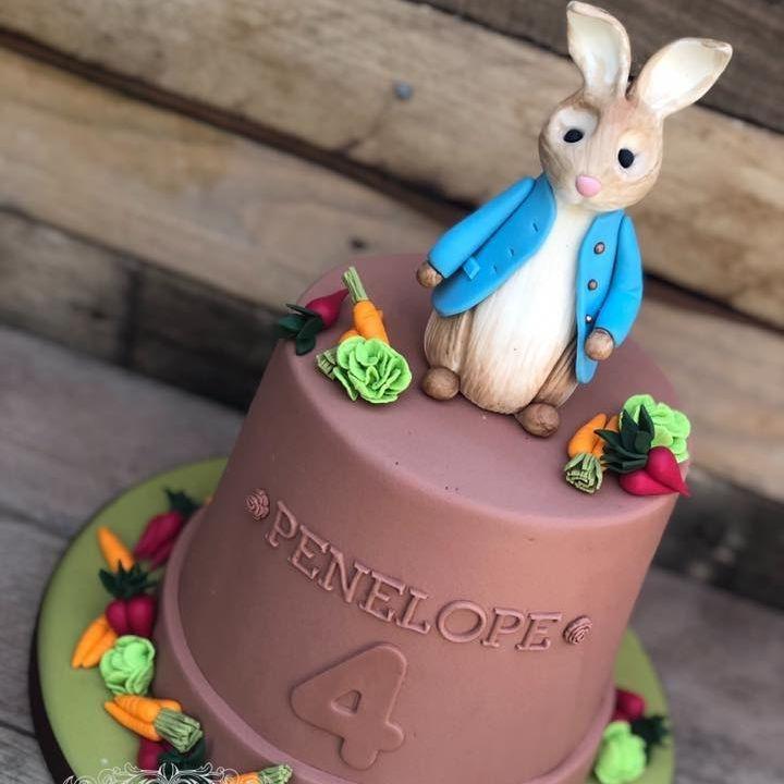 birthday cake peter rabbit vegetables plant pot carrot lettuce radish potato