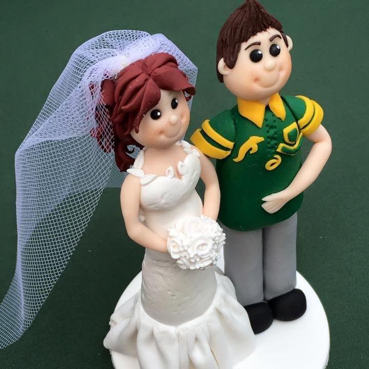 Bride Groom Personlised Family Pet Keepsakes Wedding Clay Topper  Rugby