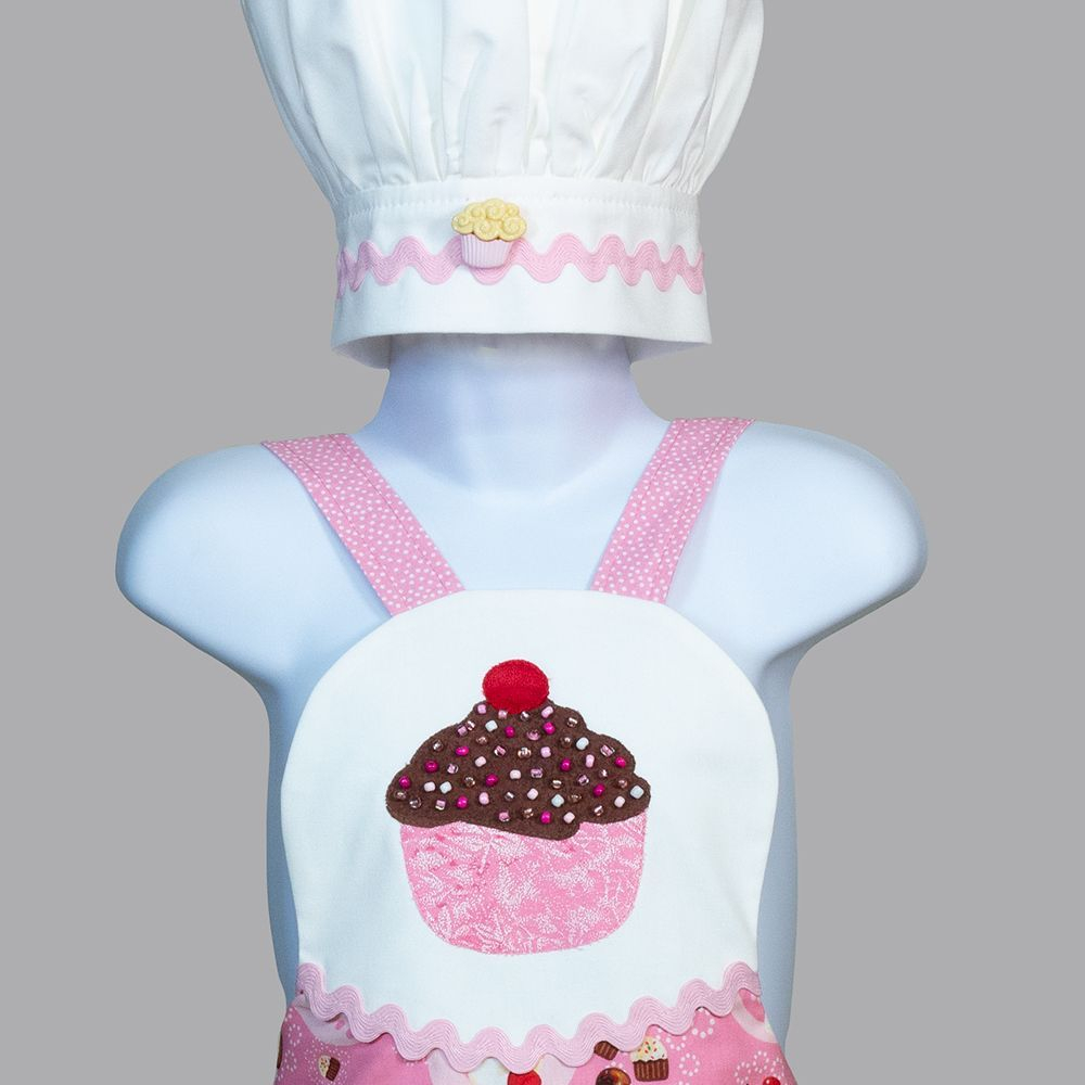 A cupcake-themed apron