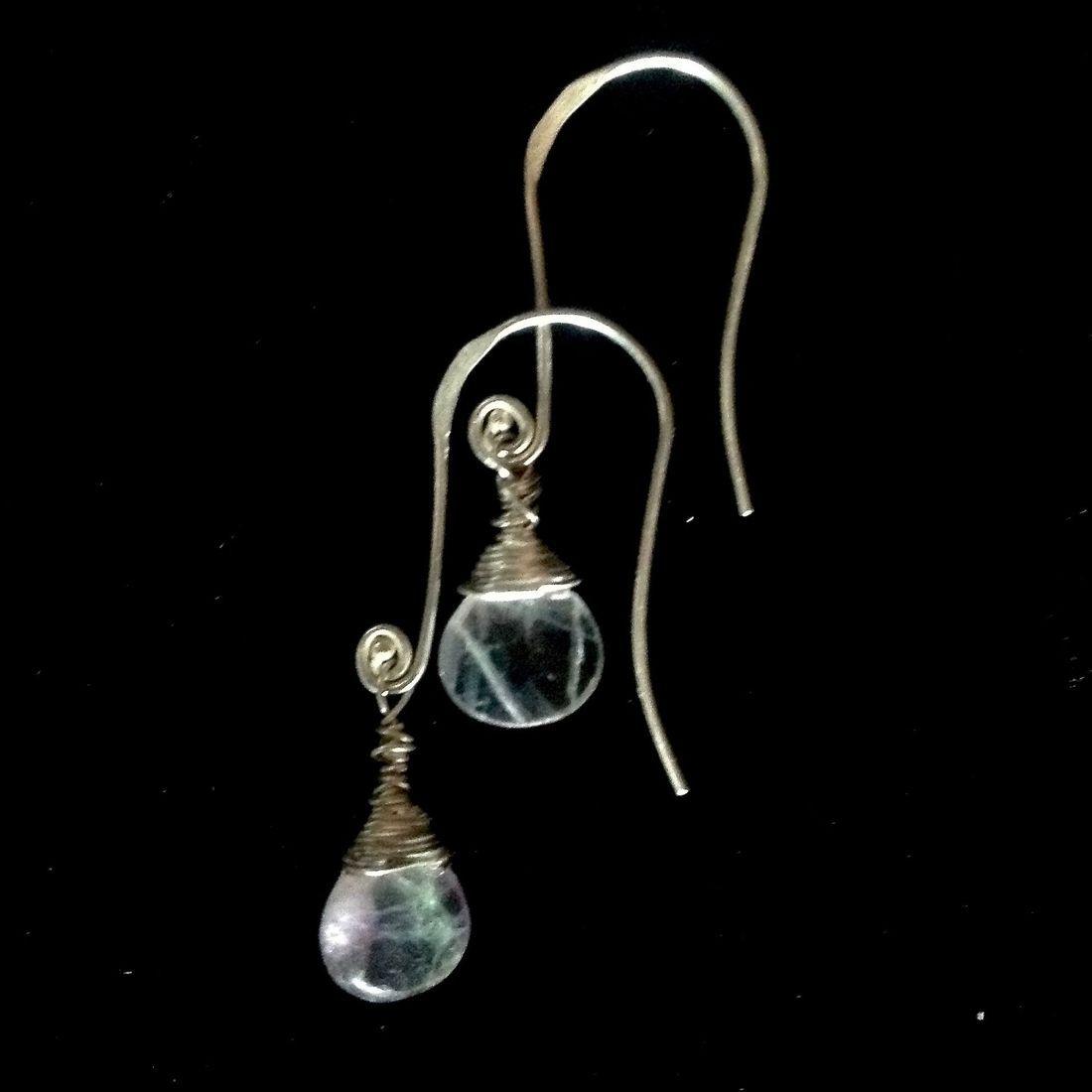 Flourite Gemstone earrings on Sterling hooks