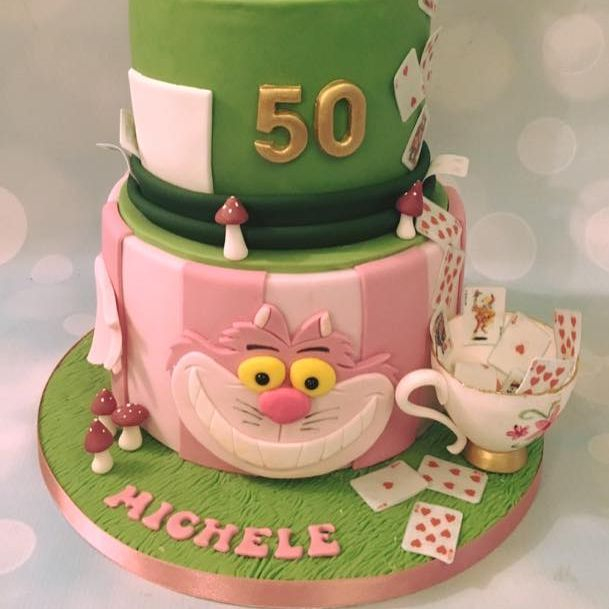 Alice Wonderland Cheshire Cat Hat teapot  Birthday Celebration Novelty Cake