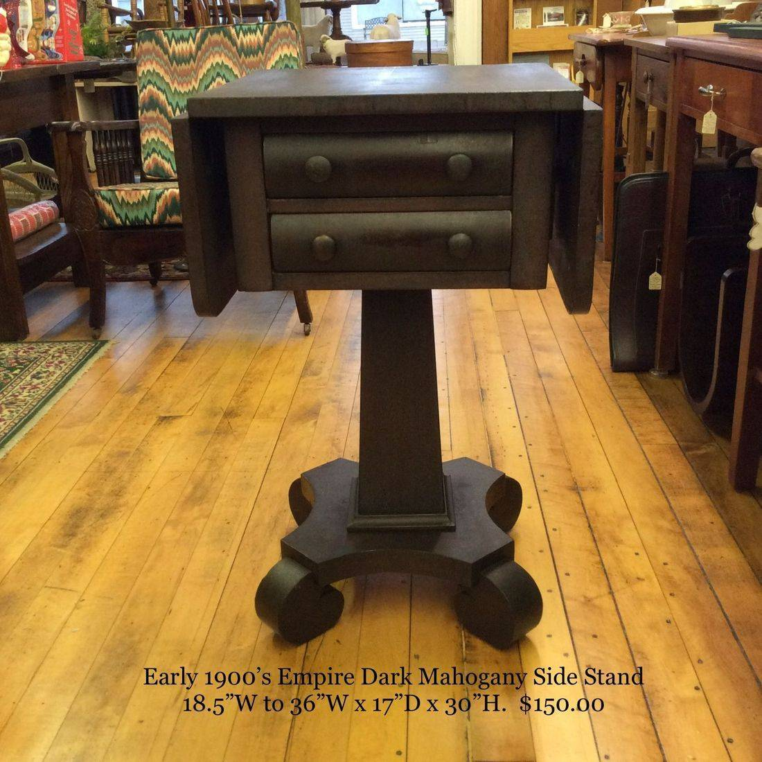 """Early 1900's Empire Dark Mahogany Drop-Leaf 2-Drawer Side Stand  18-1/2""""W to 36""""W x 17-1/8""""D x 30""""H.  $150.00"""