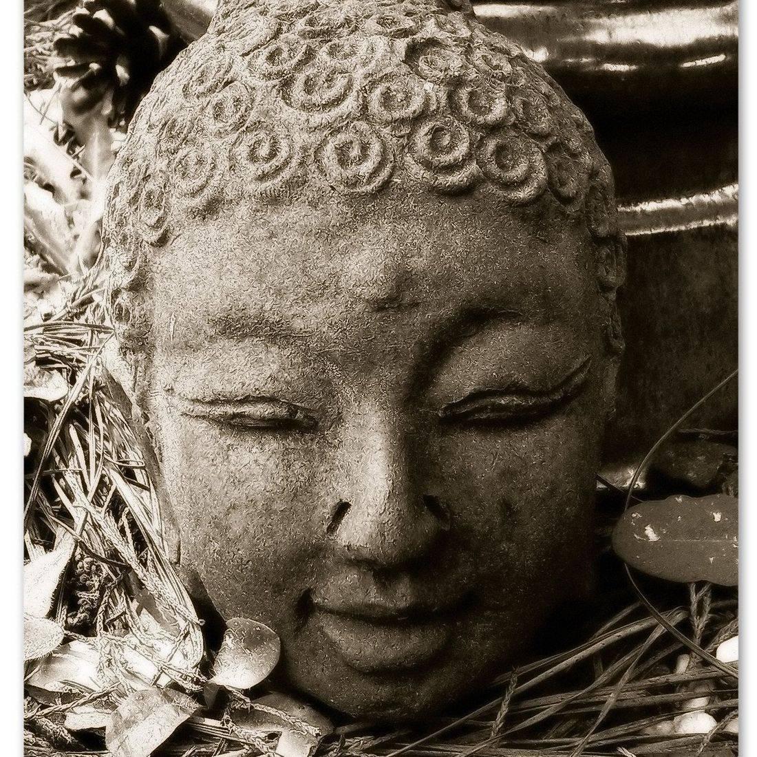 Buddha, Stone, Garden, Serene, Face