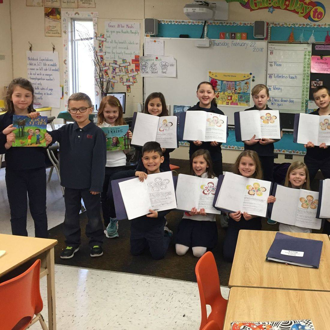 Grade 2 & 3 students sharing thier ideas and writing after reading Lucky Stars by Daniella Grsic